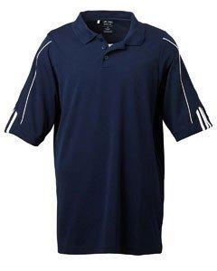 White Contrast Neck T-shirt - Adidas Men's ClimaLite 3 Stripes Cuff Polo Shirt, XXX-Large, COLLEGIATE NAVY/WHITE
