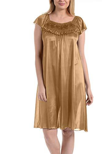 Ezi Women's Satin Silk Ruffle Nightgown,Peach Orange,XXL