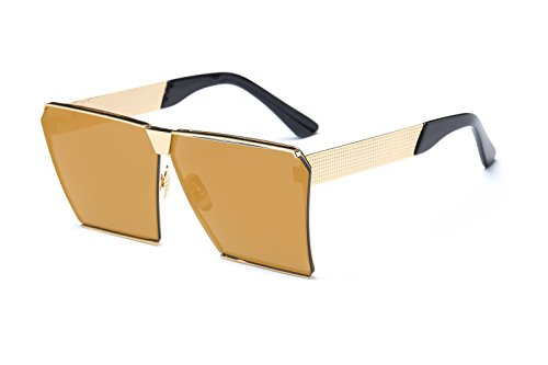 Square Sunglasses for Men Women Retro Unisex Hot Girl Boy Classic Lady Sunglass (Gold, - Bean Ray Sunglasses