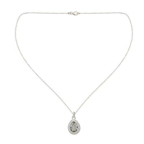 NOVICA Multi-Gem Prasiolite .925 Sterling Silver Pendant Necklace, 18 Mughal Mystique