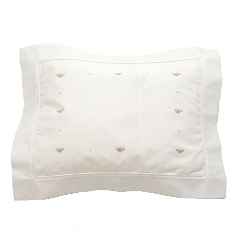 Gordonsbury Boudoir Pillowcase: Decorative Toddler/Baby Cotton Pillow Sham with Hand Stitched Embroidery, Baby Bee Beige - Embroidered Boudoir Sham