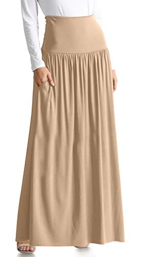 Womens Long Maxi Skirt with Pockets Reg and Plus Size - Made in The USA (Size Large US 8-10, Taupe Ankle-Length)