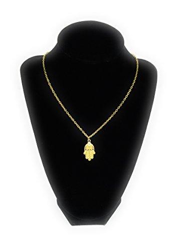 Hamsa Charm Pendant - JP-Squared Co Vintage Hamsa Necklace Charm Pendant, Hamsa Hand Necklace 18K Gold Plated Jewelry (Embroidered Hamsa)