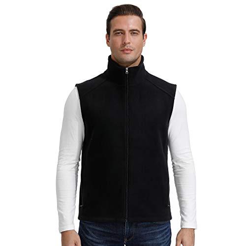 MOHEEN Men's Tech Slim Waistcoat Full Zip Heavyweight Polar Fleece Vest Outerwear Windbreaker Black 2XL