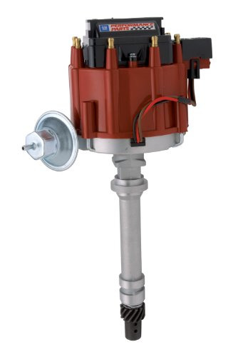 - Proform 141-683 Adjustable Vacuum Advance HEI Distributor with Steel Gear and Red Cap for Chevy V8