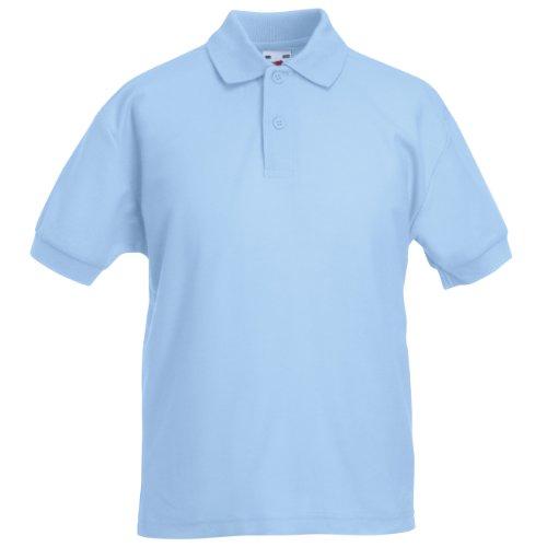 Fruit Of The Loom - Kinder Unisex Pique Kurzarm Polo Shirt - 9-11 Jahre, Himmelblau