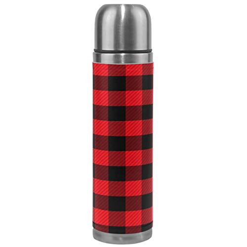 Wamika Checkers Plaids Vacuum Insulated Stainless Steel Water Bottle, Red Black Lattice Geometric Sports Coffee Travel Mug Thermos Cup Genuine Leather Cover Double Walled BPA Free 17 (70s Fashion Ideas)