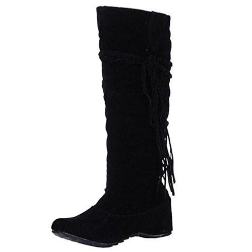 Boots Inner Women's Round Toe Flat Slip Black Tassel Binying on Increaser q4ZwU
