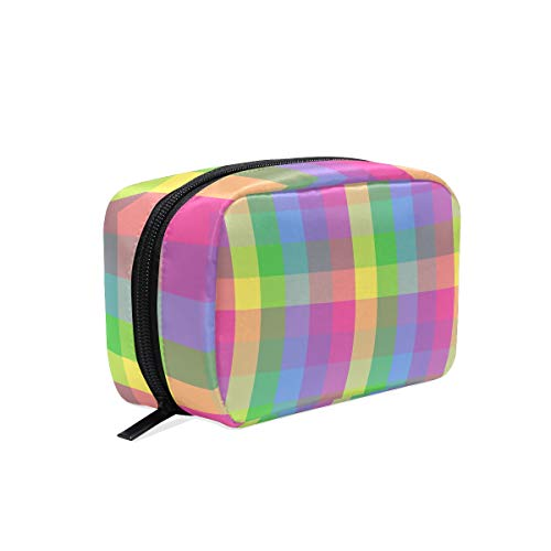 Cosmetic Makeup Bag Pouch Pattern Checkers Rainbow Clip Art -
