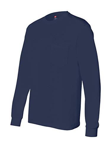 - Hanes Men's Tagless Long Sleeve T-Shirt with a Pocket - Medium - Navy
