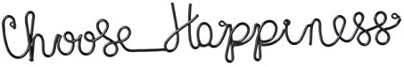 Cape Craftsmen Choose Happiness Cursive 3-D Metal Wall D cor in Black Finish – 30 in Length x 1 Depth x 5 Height
