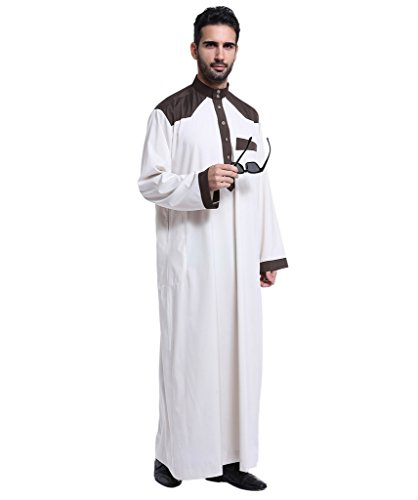 Men's Muslim Arabic Abaya Robe Dubai Long Sleeve Daffah Thobe