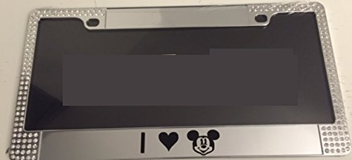Chrome Gem Gem - I Heart Mickey <3 - Limited Edition Chrome with Gems Automotive License Plate Frame