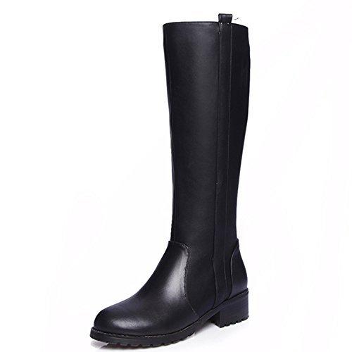 Leather Handmade Boots (Nine Seven Genuine Leather Women's Round Toe Chunky Heel Zip Knee High Handmade Riding Boot (10, Black))