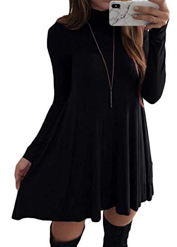 Joe Wenko Women Long Sleeve Swing Solid Fall/Winter High Neck Dress Black Medium
