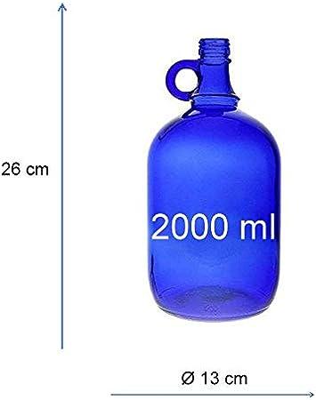 Mikken Blaue XL - Botella de cristal (2 L, para rellenar, con tapón de rosca negro)