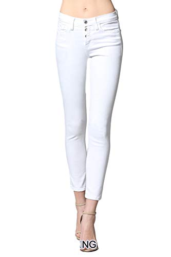 Flying Monkey Optic White Exposed Button Up Fly Mid Rise White Ankle Skinny Jeans Y2308WND (25/1)