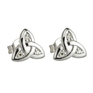Solvar 14K White Trinity Knot Diamond Stud
