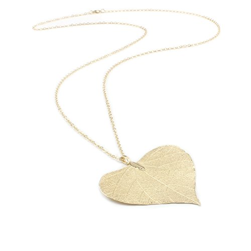 - BOUTIQUELOVIN Women's Long Leaf Pendant Necklaces Real Filigree Autumn Leaf Fashion Jewelry Gifts (Gold Aspen)