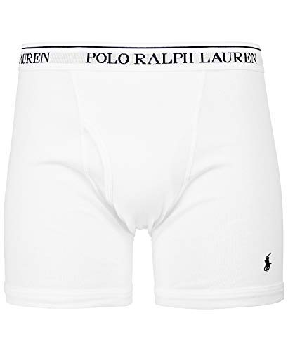 Cotton Embroidered Briefs - Polo Ralph Lauren Classic Fit Boxer Briefs with Moisture Wicking, 100% Cotton - 3 Pack (L, 3White)