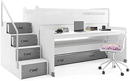 Interbeds - Cama infantil máx. 1 con escritorio y 3 camas, 200 x 80, 190 x 80, 180 x 80 cm con 3 colchones, somieres y cajonera (blanco + gris)