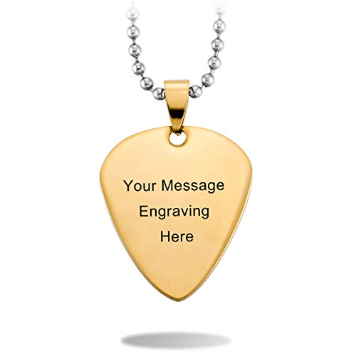 (MeMeDIY Gold Tone Stainless Steel Pendant Necklace Guitar Pick Heart,Come with Chain - Customized Engraving )