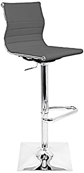 Master Gray Faux Leather and Chrome Adjustable Barstool