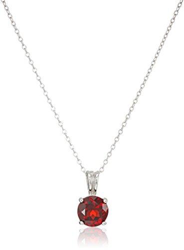 Silver Genuine Garnet Pendant (Sterling Silver Genuine Garnet 8mm Round January Birthstone Pendant Necklace, 18