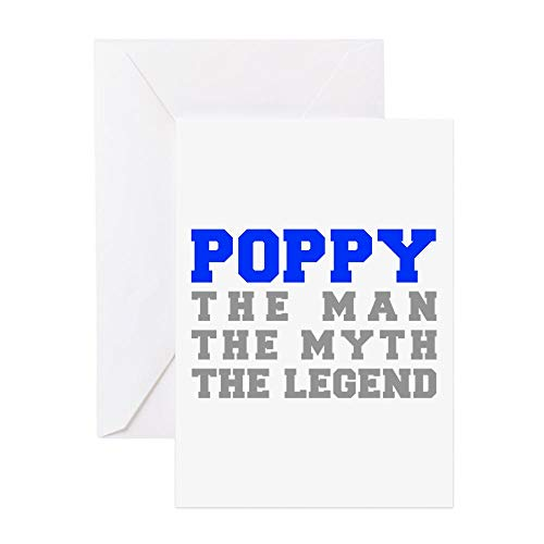 CafePress Poppy Fresh Blue Gray Greeting Card, Note Card, Birthday Card, Blank Inside Matte (Card Poppies Birthday)