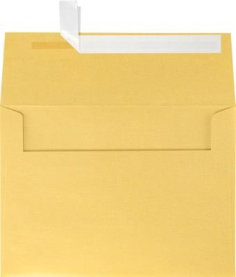 A7 Invitation Envelopes w/Peel & Press (5 1/4 x 7 1/4) - Gold Metallic (1000 Qty) | Perfect for Invitations, Announcements, Sending Cards, 5x7 Photos | Printable | 80lb Paper | 5380-07-1M by Envelopes.com