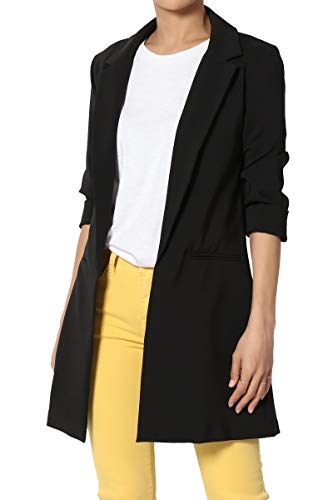 TheMogan Women's Casual to Office Cuffed Bracelet Longline Jacket Blazer Black ()