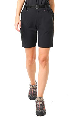 (MIER Women's Lightweight Hiking Shorts Stretchy Quick Dry Cargo Shorts with 5 Pockets for Outdoor, Water Resistant, Black, 10)