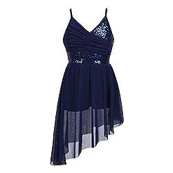 Navy-Blue Sequined Dance V-Neck Spaghetti Straps Dancing Costume