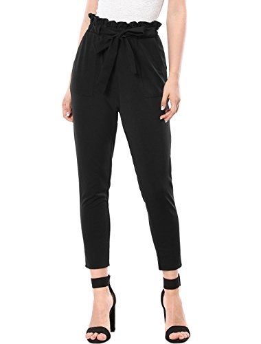 Allegra K Women's Tie Waist Pants Elastic Ruffle Waist Tapered Cropped Pants with Belt XL Black