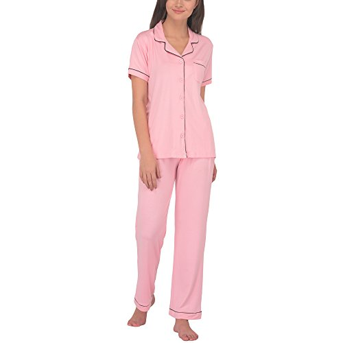 (Women's Sleepwear 2 Pc Short Sleeve Pajama Notch Collar Pajama Pants Set/Pajama (Pink, S))