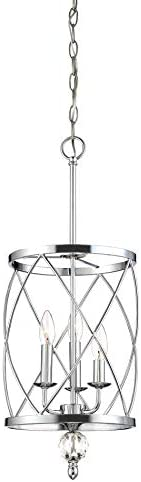 Kira Home Eleanor 13 3-Light Traditional Foyer Light Pendant Chandelier, Cylinder Metal Shade, Adjustable Height, Chrome Finish