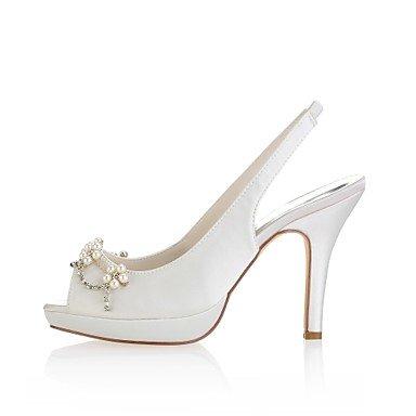 KUKIE BEST 4U 'Damen-Schuhe, Satin, Sommer, Schuhe Pumps Hochzeit Stiletto Toe Heel Peep Toe Stiletto für Hochzeit Abend Elfenbein mit Kristall elfenbeinfarben cd91ee