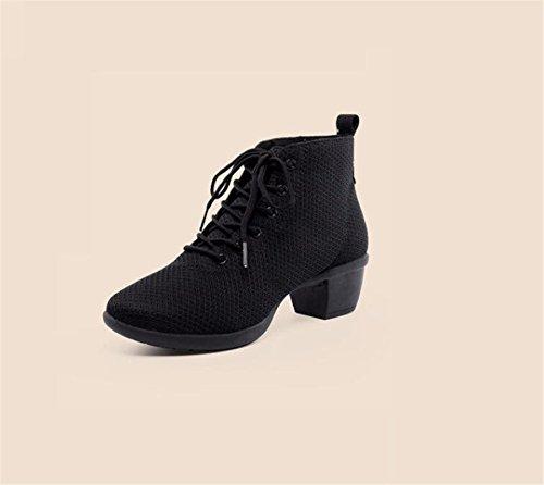 SQIAO-X- Scarpe da ballo con suola in gomma USURA CINGHIA Mesh traspirante Square Dance Dance Latina danza jazz, Adulti Professional scarpe da ballo, nero,39