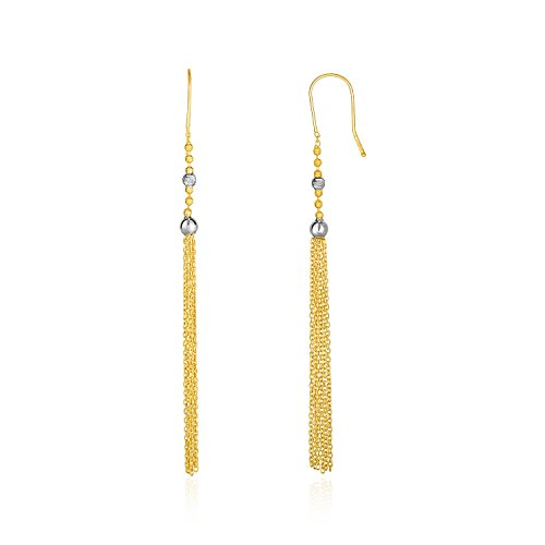 (Mia Diamonds 14k Two-Tone Yellow and White Gold Ball and Multi-Strand Tassel Earrings)