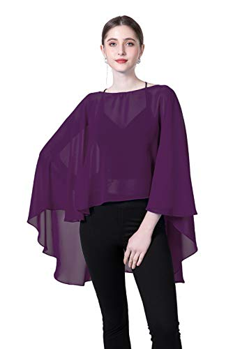 (Chiffon Capes Sheer Capelets Bridal Shawls And Wraps Cape Long Plus Size Poncho Cape For Women (Plum)
