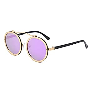 Round Retro Unisex Sunglasses Polarized Driving Mirrored Lens Steampunk Style UV Protection (Metal with Plastic, Purple)