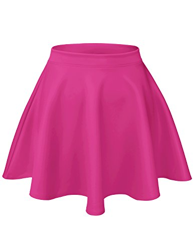 Fuschia Womens Skirt (Luna Flower Women's Basic Versatile Stretchy Scuba Flare Skater Short Skirts Fuschia S)