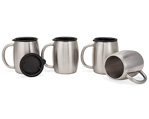 (Stainless Steel Coffee Mugs with Lids - 14 Oz Double Walled Insulated Coffee Beer Mugs by Avito - Set of 4 - Best Value - BPA Free Healthy Choice - Shatterproof and Spill Resistant)