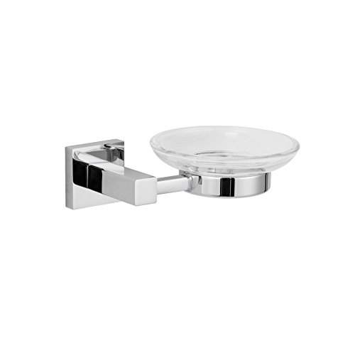 MAYKKE Zane Wall Mount Clear Soap Dish and Holder | Glass Tray for Soap Bars, Razor | Bathroom Lavatory, Shower, Kitchen Holder Organizer | Polished Chrome, XYA1000201