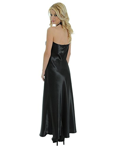 Beautiful Black Satin Charmeuse Nightgown Halter Gown