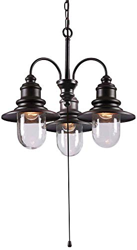 Kenroy Home 93033ORB Broadcast 3-Light Outdoor Chandelier, Blackened Oil Rubbed Bronze