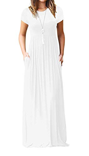 DEARCASE Women's Round Neck Short Sleeves A-line Casual Maxi Dresses with Pocket White X-Large