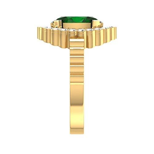 14K Or jaune, 0,29carat Diamant Taille ronde (IJ | SI) Semi Précieuses Émeraude et diamant Bague