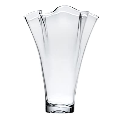 """Lenox Organics Ruffle Wide Crystal Vase - Crafted of non-lead crystal A great gift for any occasion Vase height is 12"""" - vases, kitchen-dining-room-decor, kitchen-dining-room - 31Ivl D pWL. SS400  -"""