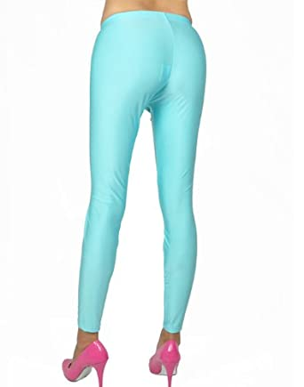 Amazon.com: NawtyFox Sky Blue Shiny Spandex Leggings: Clothing